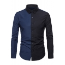 Men's New Stylish One Pocket Patched Colorblocked Long Sleeve Fitted Button-Up Shirt