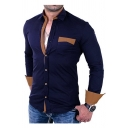 Men's Stylish Colorblock Patchwork Long Sleeve Casual Fitted Button-Up Shirt