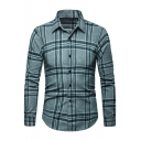 Classic Plaid Printed Long Sleeve Men's Spread Collar Slim Fit Button-Up Shirt