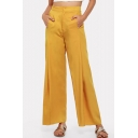 Comfortable Simple Plain Wide Leg High Rise Yellow Pants