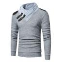 Mens Unique Leather Buckle Embellished Turtleneck PU Patched Shoulder Fitted Slim Sweater