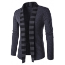 Mens Unique Stripe Shawl Collar Long Sleeve Open Front Cardigan