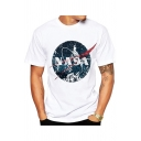 Fashion NASA Letter Logo Print White Round Neck Short Sleeve Casual T-Shirt