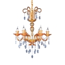 Traditional Candle Chandelier 6 Lights Clear Crystal Pendant Light with Adjustable Cord in Orange/Green