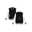Fashion American Rapper Portrait Letter Print Colorblock Button Down Unisex Baseball Jacket