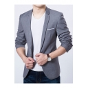 Men's Plain Notched Lapel Long Sleeves Single Button Slim Fit Blazer Suits with Pockets