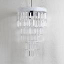 Multi Tiers Mini Pendant Light Clear Crystal Bedroom Single Light Modern Hanging Lamp in Black