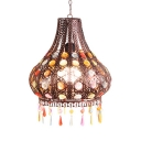Dinging Room Curved Hanging Light Metal Rustic Pendant Lamp with Multi Color Crystal