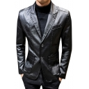 Cool Plain Notched Lapel Double Button Long Sleeve Business Leather Blazer Jacket