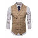 New Stylish Check Pattern Buckle Back Double Breasted Slim Fit Suit Vest for Men