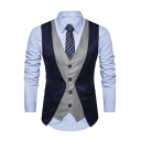 New Stylish Colorblocked Button Front Fake Two-Piece Suit Vest for Men