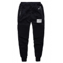 Men's Logo Print Zip Pocket Pleated Knee Detail Drawstring Waist Casual Black Sweatpants