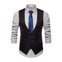 Men's Fashion Plain Single Breasted V-Neck Asymmetric Design Suit Vest