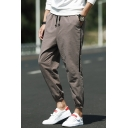 Mens Street Fashion Striped Side Drawstring Waist Cotton Linen Casual Track Pants