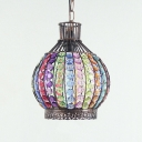 Colorful Lantern Pendant Lamp Single Light Vintage Crystal Pendant Lighting for Bedroom