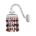 Single Light Barn Sconce Classic Metal Hanging Wall Sconce with Colorful Crystal in White/Bronze