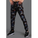 Fashion Camo Pattern Drawstring Waist Zipper Pockets Mens Casual Slim Fit Outdoor Mountaineering Track Pants