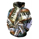 Funny Creative Piano 3D Pattern Long Sleeve Casual Loose Pullover Drawstring Hoodie