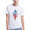 The Avengers Watercolor Comic Figure Printed Short Sleeve White Basic T-Shirt