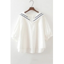Women's Three-Quarter Sleeve Sailor Collar Long Sleeve Loose Baby Doll Blouse
