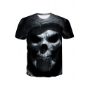 Funny Cool 3D Skull Printed Short Sleeve Round Neck Black Tee