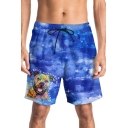 Mens Fashion Cartoon Dog Letter Starry Sky Printed Drawstring Waist Summer Beach Shorts Blue Swim Trunks