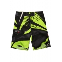 Trendy Style Drawstring Quick Drying Velcro Patched Color Block Beachwear Swim Shorts for Guys with Side Cargo Pocket