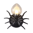 Spider Shape Led Sconce Light Kids Room Single Light Industrial Wall Lamp in Black