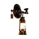 Metal Kerosene Wall Lamp Single Light Antique Sconce Light in Rust for Dining Room