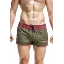 Summer Fashion Plaid Printed Drawstring Waist Men's Casual Beach Swim Shorts