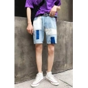 Guys Cool Street Fashion Retro Washed Unique Patchwork Loose Fit Light Blue Denim Shorts