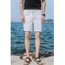 Mens Simple Basic Plain Drawstring Waist Slim Fit Linen Casual Shorts