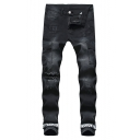 Cool Simple Letter Print Pockets Patched Side Men's Slim Fit Distressed Ripped Black Jeans