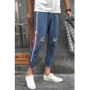 Fashion Striped Side Knee Cut Casual Slim Fit Tapered Ripped Jeans for Guys