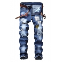 Men's Fashion Applique Badge Flag Letter Patched Knee Destroyed Blue Ripped Jeans