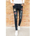 Mens Street Style Badge Patchwork Stretch Slim Fit Dark Blue Ripped Jeans