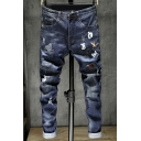 Men's New Trendy Embroidery Patched Distressed Rolled Cuff Straight Fit Blue Ripped Jeans