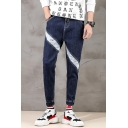 Guys Street Style Letter Patched Drawstring Waist Elastic-Cuff Slim Fit Dark Blue Jeans