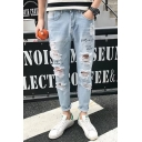 Retro Nostalgia Light Blue Letter Printed Casual Men's Distressed Ripped Tapered Jeans