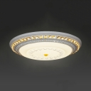 Modern Round LED Flush Mount Light with Crystal Acrylic Ceiling Light Fixture in White
