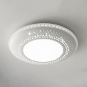 Contemporary Flush Light with Round Acrylic LED Ceiling Light Fixture in White for Living Room