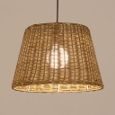 Woven Bucket Ceiling Pendant 1 Light Asian Patio Light with 47