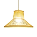 Pastoral Beige Hanging Light One Light Bamboo Pendant Lighting for Coffee Shop Restaurant