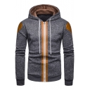 New Stylish PU Panelled Long Sleeve Zip Up Mens Casual Drawstring Hoodie
