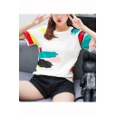 White Fashion Colorful Painting Round Neck Short Sleeve Cotton T-Shirt