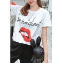 Trendy Mouth Letter BE HADIANT Printed Round Neck Short Sleeve Loose Fit White T-Shirt