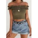 Simple Plain Off the Shoulder Ruffle Design Knit Crop T-Shirt