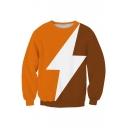Cool Fashion Lightning Pattern Color Block Round Neck Long Sleeve Sweatshirt