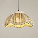 Woven Scalloped Ceiling Pendant Rustic Style 1-Light Suspension Lamp in Beige/Coffee, 12
