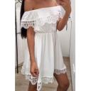 Women's Simple Plain Off The Shoulder Ruffle Design Hollow Out Mini A-Line Dress